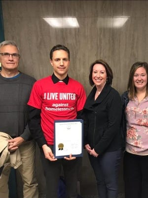 Members of the Lebanon County Coalition to End Homelessness pose after the county commissioners proclaimed Nov. 11-19, 2017 as Hunger and Homelessness Awareness Week. From left: Dave Hartman, Mike Ritter (chair), Jocelyn Grassley (treasurer), Tabitha Kramer, and Patty Stine.