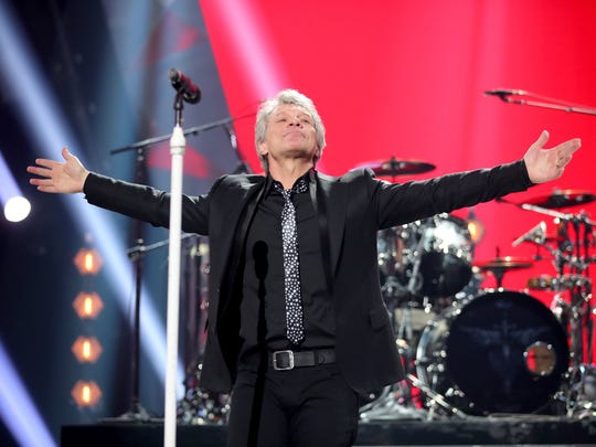 Jon Bon Jovi performs  during the 2018 iHeartRadio Music Awards.
