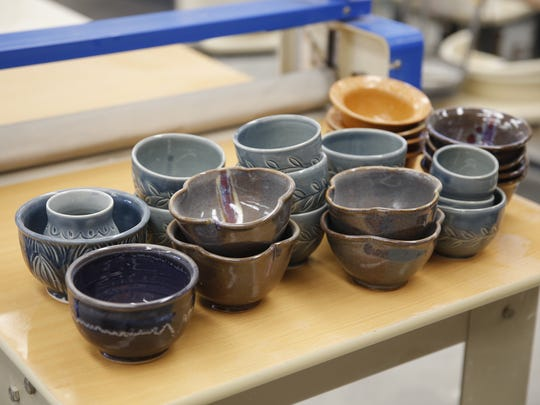San Juan College students and faculty members create 1,300 to 1,500 pieces each year for the college's annual Charity Bowl Sale.