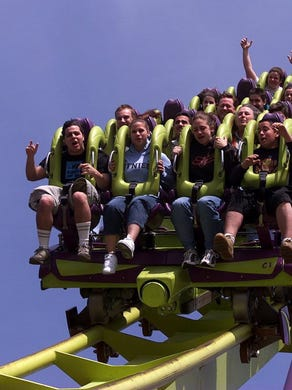 2002: Guests enjoy the Medusa roller coaster on opening day of the 2002 season at Six Flags Great Adventure.