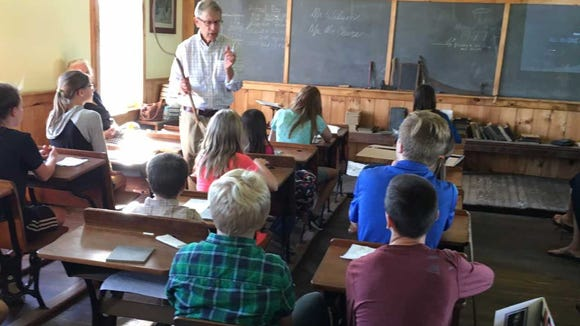 Roger Wilson, one of the presenters on York County - and one-room school life - demonstrated several tools used in York County's largely agrarian culture in the century-plus that one-room schools operated around the county.