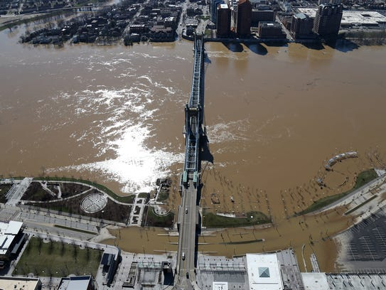 Aerial photograph of a flooded Smale Riverfront Park