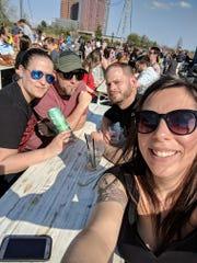 Jamie Watts (left) with boyfriend Michael Kelliher and friends Natalie Seivwright and Matt Galinskie at Constitution Yards Beer Garden in Wilmington last weekend.