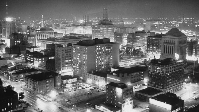 This undated photo shows Indianapolis at night.