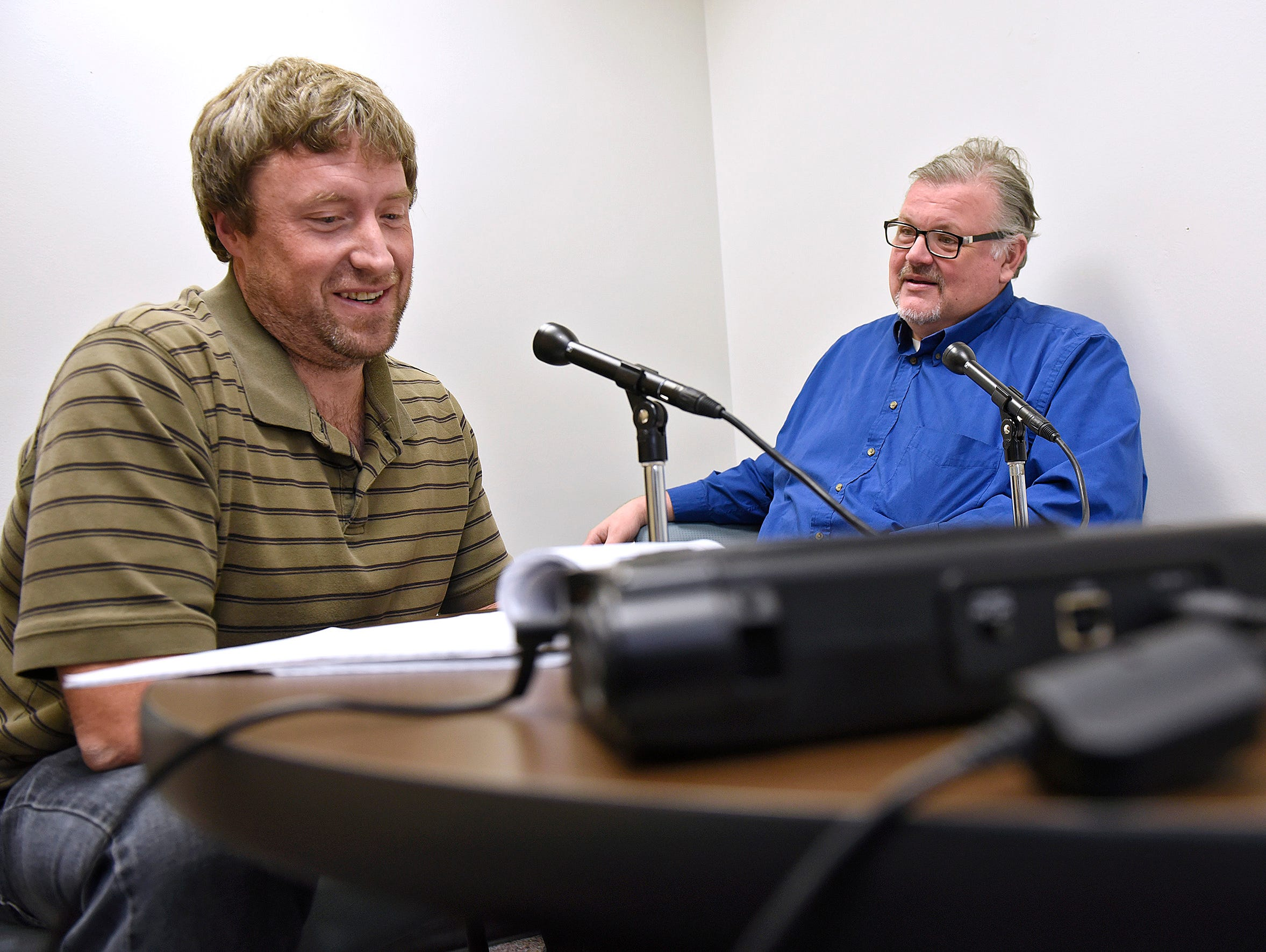 Frank Rajkowski and Tom Elliott record a sports podcast Thursday, Nov. 19.