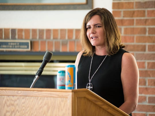 Bell's marketing manager Allison Hornev speaks at the Bell's Beer Bayview Mackinac Race conference Wednesday, June 13, 2018, at the Port Huron Yacht Club.