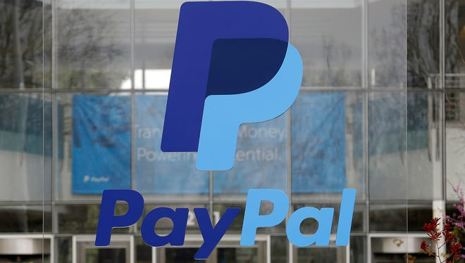 Signage outside PayPal headquarters in San Jose, Calif.