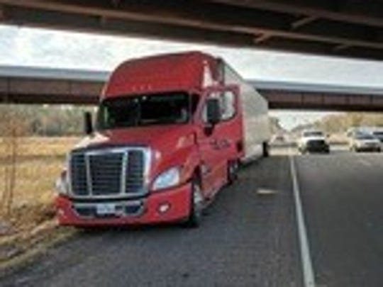 Image of Mejia's 18-wheeler after it finally came to
