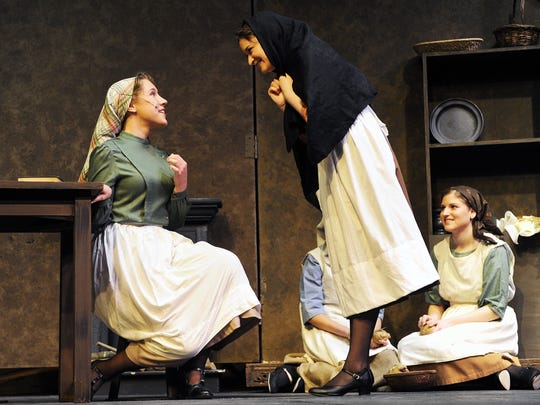 "Grayson Katzenbach, left, as ""Chava"" during a dress rehearsal for a 2013 production of ""Fiddler On The Roof"" at ShenanArts, has been in many productions for both ShenanArts and Waynesboro Players. She has performed at Lime Kiln and was the director of a children's production of ""Romeo and Juliet."""