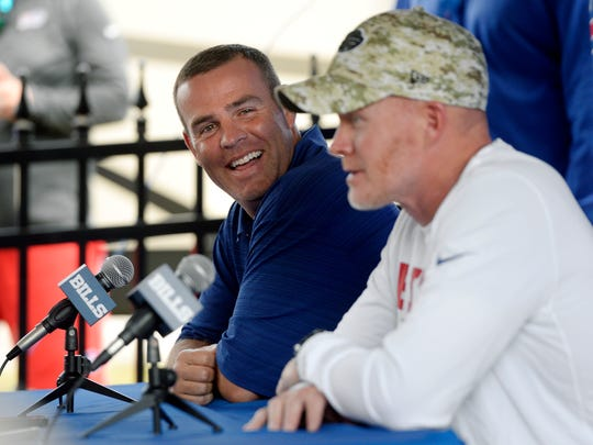 Bills GM Brandon Beane, left, is hoping he can joke and talk football with coach Sean McDermott at training camp this summer, but there are too many 'unknowns' to say with certainty there will be a training camp at St. John Fisher College. They are staying positive he said, because 'it's the only way to lead' during this time.