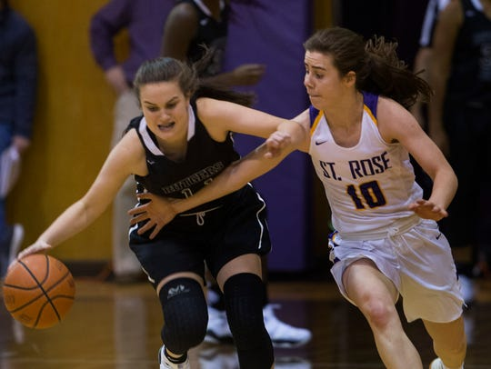 St. Rose's Markayla Markham battles with Rutgers Prep's