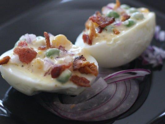 Crunchy Pea Salad-stuffed Deviled Eggs