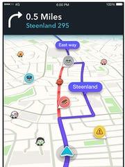 A screenshot of the redesigned app Waze.