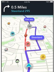 A screenshot of the redesigned app Waze.