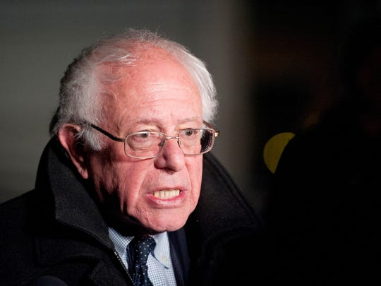 Sen. Bernie Sanders, I-Vt., addresses the media at Burlington International Airport on Tuesday night shortly after his loss in the New York Democratic primary.