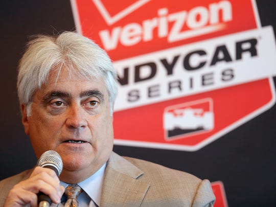Mark Miles, CEO, Hulman & Company answers question during the IndyCar Series media day Tuesday, February 17, 2015, morning at the Indianapolis Motor Speedway.