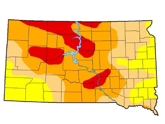 A map of drought conditions in South Dakota, updated