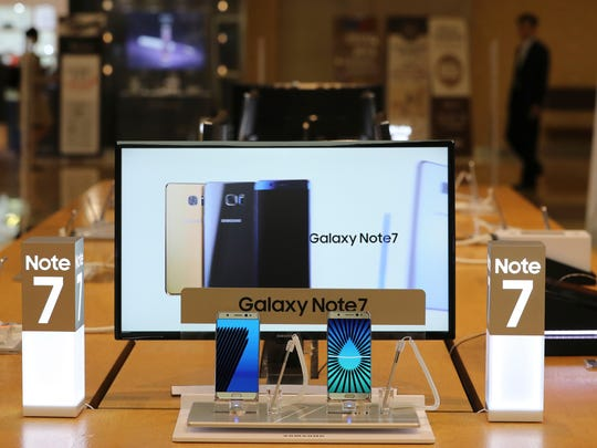 Samsung Electronics Galaxy Note 7 smartphone are displayed at its shop in Seoul, South Korea, Tuesday, Oct. 11, 2016. Samsung said Tuesday it is halting sales of the star-crossed Galaxy Note 7 smartphone after a spate of fires involving new devices that were supposed to be safe replacements for recalled models.