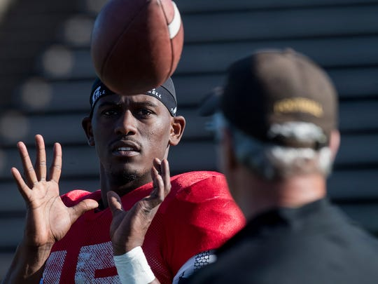Alabama State University quarterback D.J. Pearson during spring practice on the ASU campus in Montgomery, Ala. on Wednesday April 4, 2018.