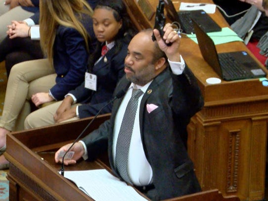 In this video frame, Rep. Charles Young, D-Meridian,