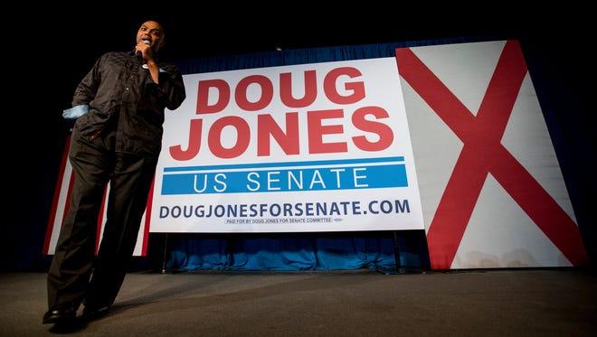 Charles Barkley speaks at U.S. Senate candidate Doug Jones' rally in Birmingham, Ala. on Monday night December 11, 2017.