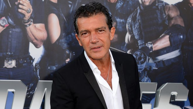 "In this Aug. 11, 2014 file photo, Antonio Banderas arrives at the premiere of ""The Expendables 3"" in Los Angeles."