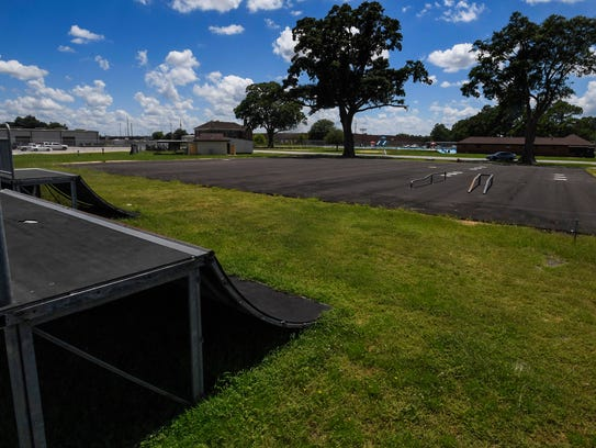 The future site of the city skateboard park at the
