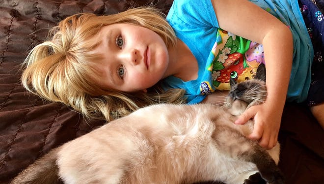 Karina Weber, 5, poses with her cat Jack-Jack. On Wednesday, her mom, Lauren Weber learned her essay about Jack-Jack and Karina– who is learning to deal with sensory processing disorder – wona $10,000 grant for Paws for Life Rescue in Troy.