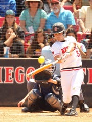 Jaylene Ignacio swings for the fences for her first career home run with the San Diego State University Aztecs. Ignacio is the granddaughter of Eddie Aguon, a former Guam Major League player.