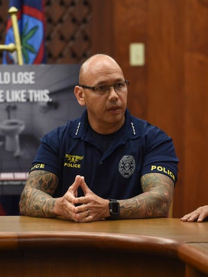 Guam Police Department Chief of Police Joseph I. Cruz talks about Guam's drug problems during a Mandaña Drug Task Force press conference at the Ricardo J. Bordallo Governor's Complex in Adelup on Sept. 1, 2017.
