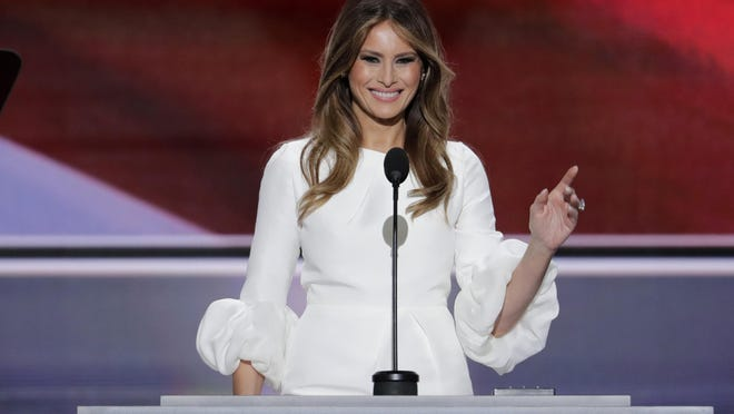 Melania Trump, wife of Republican Presidential Candidate Donald Trump speaks during the opening day of the Republican National Convention in Cleveland, Monday.