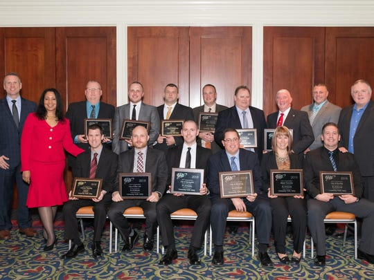 Cheryl Parker, AAA regional director of public and government affairs and the 2018 Traffic Safety Award winners.