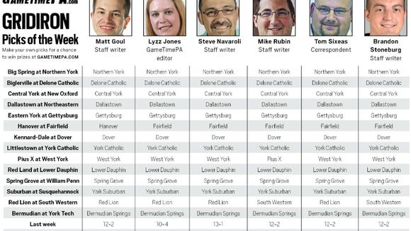 The GameTimePA.com staff's Week 6 predictions. Click the image to see a larger version.