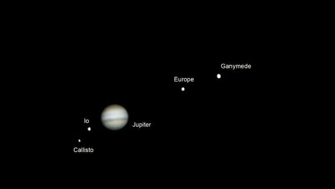 The four moons of Jupiter are seen in this image.