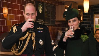 Kate, who is expecting her third child next month, passed on the traditional pint of Guinness during her visit to the Irish Guards.