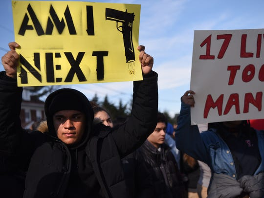 Johnny Torres, 16 a junior at Passaic High School, participates in a National School Walkout in support of a student lead protest against gun violence following the shooting at Parkland High School in Florida. The walkout on Wednesday, March 14, 2018 marked the one month anniversary of the shooting in Parkland.