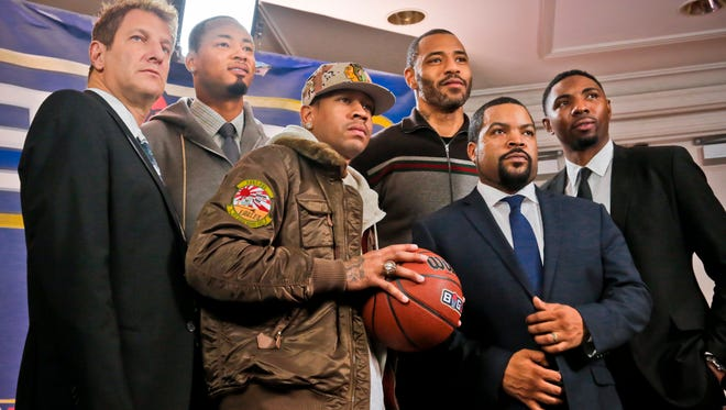 Among the people involved in the Big3 3-on-3 league are, from left, entertainment executive Jeff Kwatinetz; Rashard Lewis; Allen Iverson; Kenyon Martin; Ice Cube; and Roger Mason.