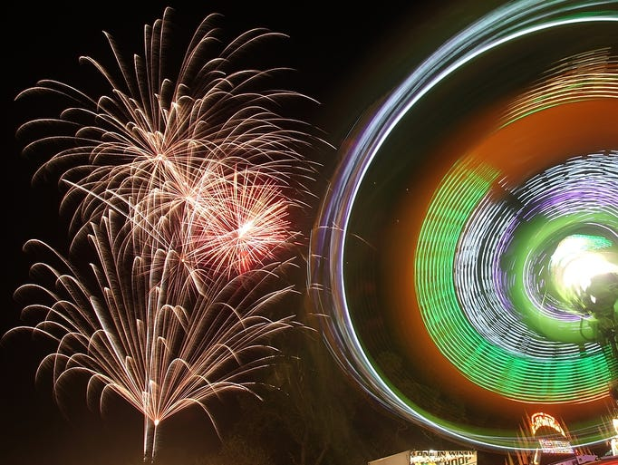 Fireworks mark the opening night of the Middlesex County Fair, Monday, August 4, 2014, in East Brunswick, NJ. Photo by Jason Towlen