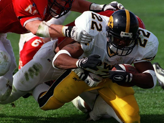 Iowa's Tavian Banks tries to break away from Iowa State's