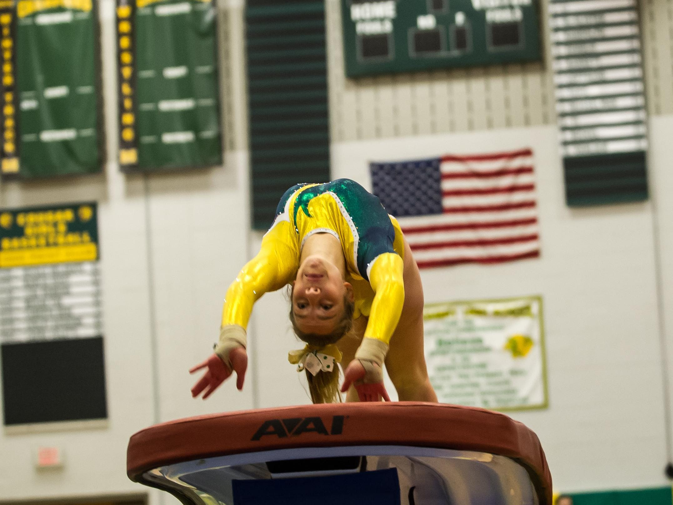 Red Bank Catholic's Tara Mills competes on the vault in the NJSIAA Team State Championship at Montgomery High School on Nov. 12, 2015. Photo by Jeff Granit
