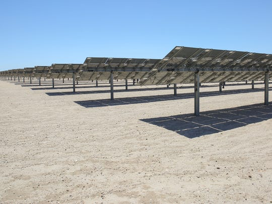 Solar panels soak up the sun at the 50-megawatt Seville solar farm at Allegretti Ranch, in western Imperial County off Highway 78. Regenerate Power plans to develop two additional solar projects at the same site, including one that recently had a $75-million contract canceled by IID.