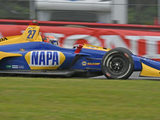Alexander Rossi speeds through the Carrousel turn at Mid-Ohio Sports Car Course en route to a victory during the Honda Indy 200.