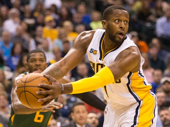 C.J. Miles, of Indiana, Utah Jazz at Indiana Pacers,
