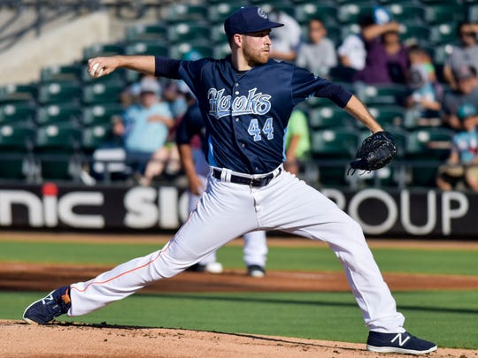 Houston Astros starter Collin McHugh made his final rehab appearance for the Hooks on Sunday at Whataburger Field