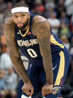 New Orleans Pelicans center DeMarcus Cousins (0) between plays during the second half against the Utah Jazz at Vivint Smart Home Arena.