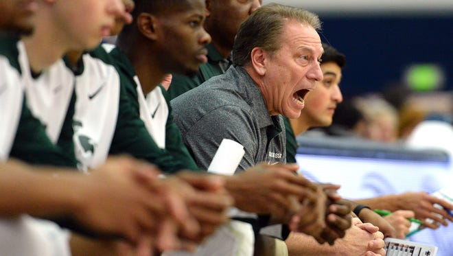 Michigan State Spartans head coach Tom Izzo reacts during the first half against the Boston College Eagles at Titan Gym.