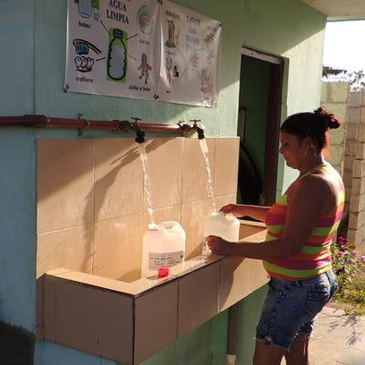 A morning visit for free, clean drinking water from