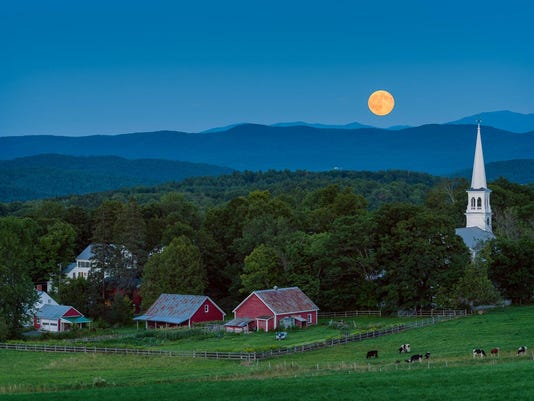 Full moon rising over Peacham