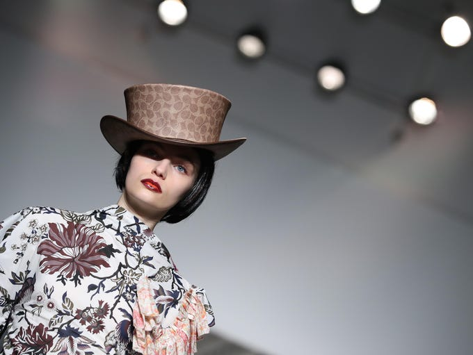 A model walks the runway at the Matty Bovan show during