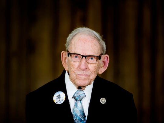 Ed Westcott poses for a portrait during his 96th birthday